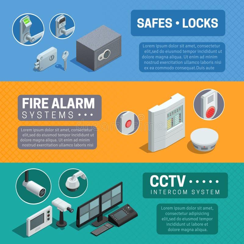 Uppsättning för baner för system för hem- säkerhet isometrisk stock illustrationer