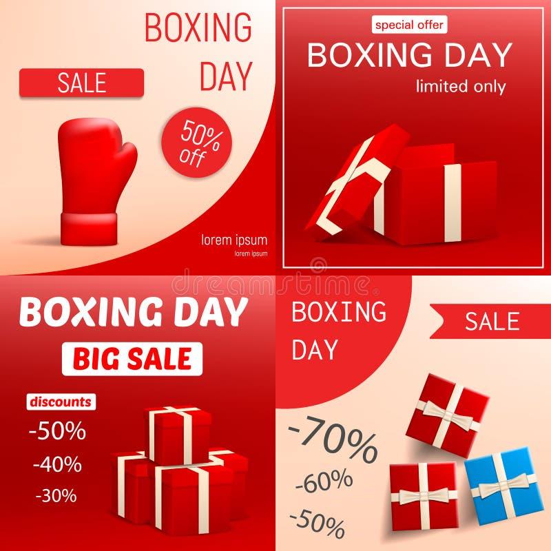 Uppsättning för baner för försäljning för boxningdag, realistisk stil stock illustrationer