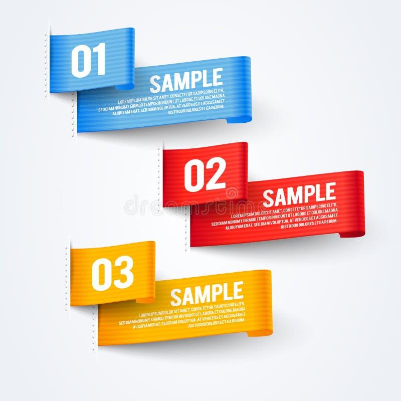 Uppsättning för baner för flagga för infographics för papper för vektorillustrationabstrakt begrepp 3d royaltyfri illustrationer