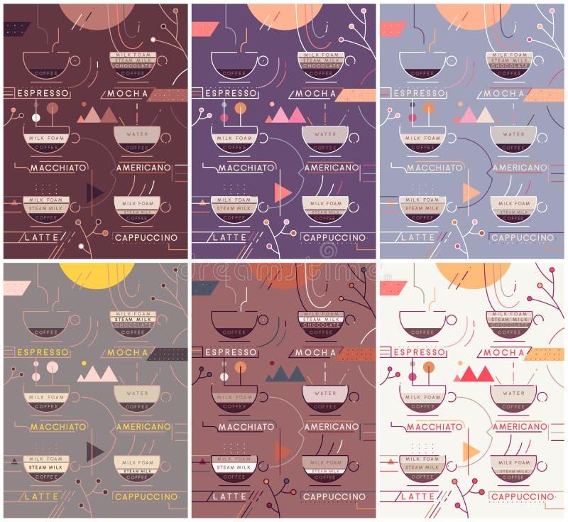 Uppsättning för baner för kaffetypvektor Infographics för kaffetypförberedelse Olika färgintriger stock illustrationer