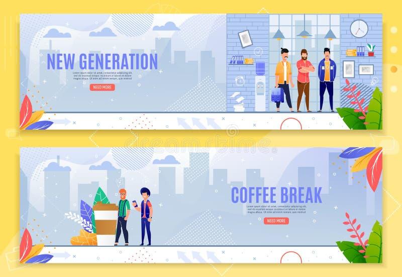 Uppsättning för baner för ny generation- och kaffeavbrott plan vektor illustrationer