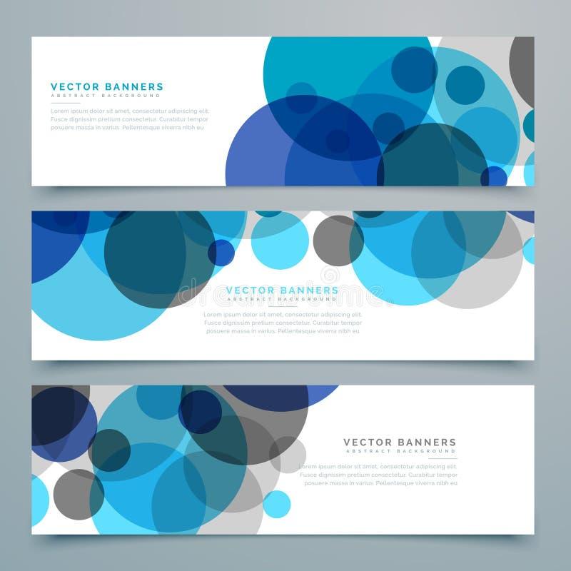 Uppsättning för baner och för titelrader för blåttcirkelvektor royaltyfri illustrationer