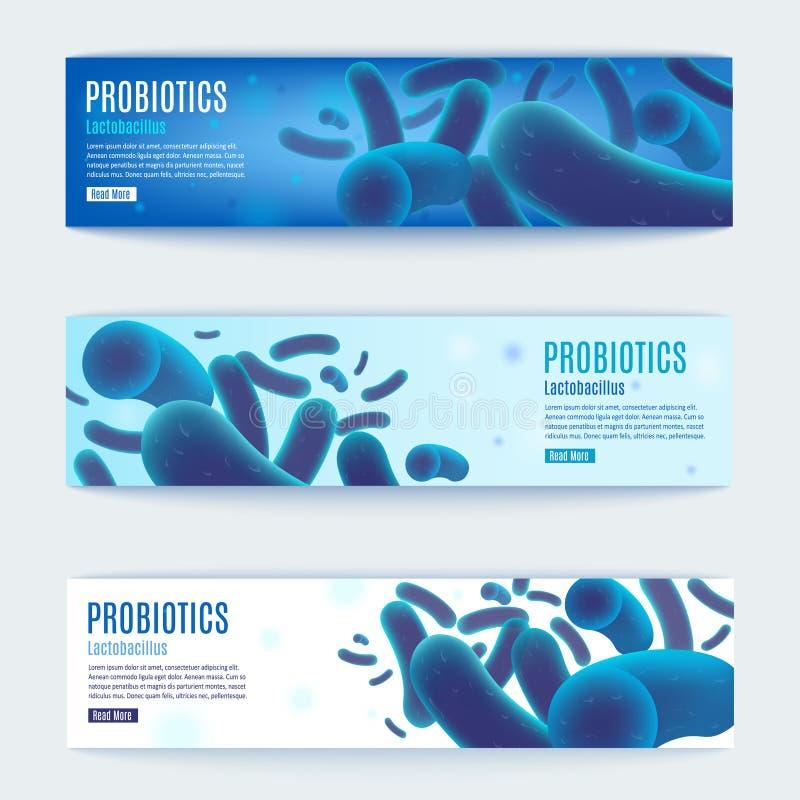 Uppsättning för baner för Probiotics vektorhorisontalblå rengöringsduk stock illustrationer