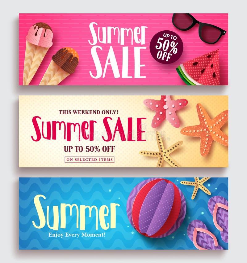 Uppsättning för baner för sommarförsäljningsvektor med färgrik modellbakgrund stock illustrationer