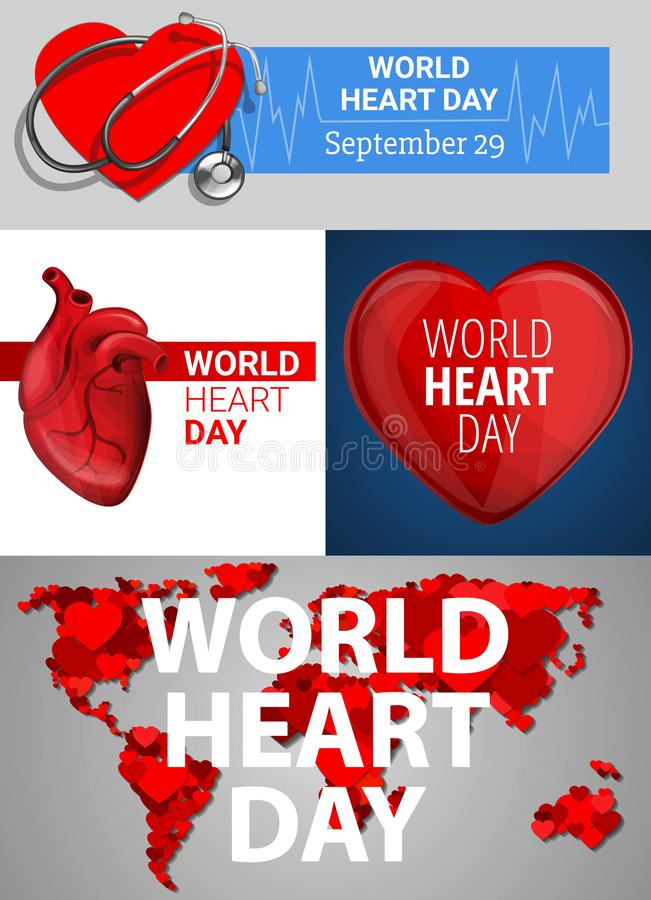 Uppsättning för baner för världshjärtadag, tecknad filmstil royaltyfri illustrationer