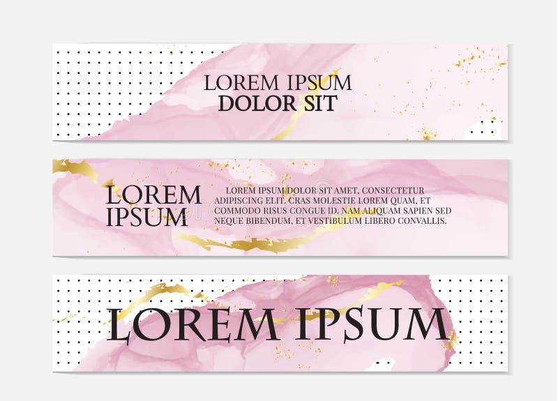 Uppsättning för baner för vektorvattenfärg rosa guld-, alkoholfärgpulverfärgstänk Modern vätskemall Vätskegarneringreklamblad Kåd royaltyfri illustrationer