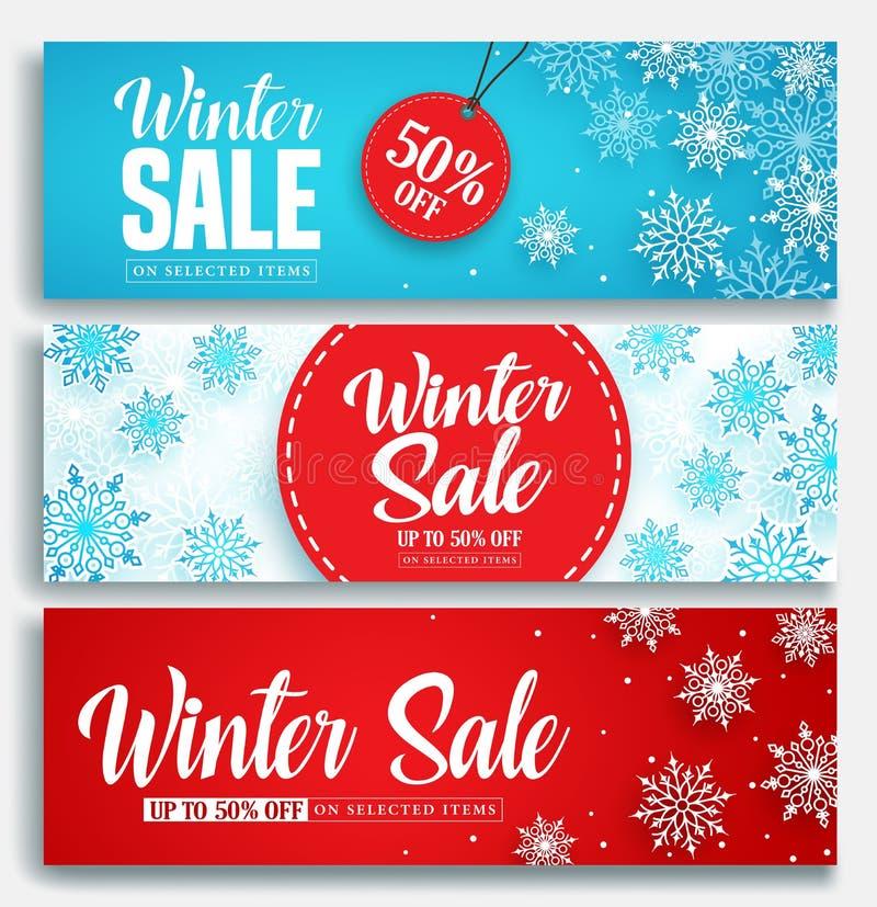 Uppsättning för baner för vinterförsäljningsvektor med rabatttext- och snöbeståndsdelar i blåa och röda snöflingor royaltyfri illustrationer