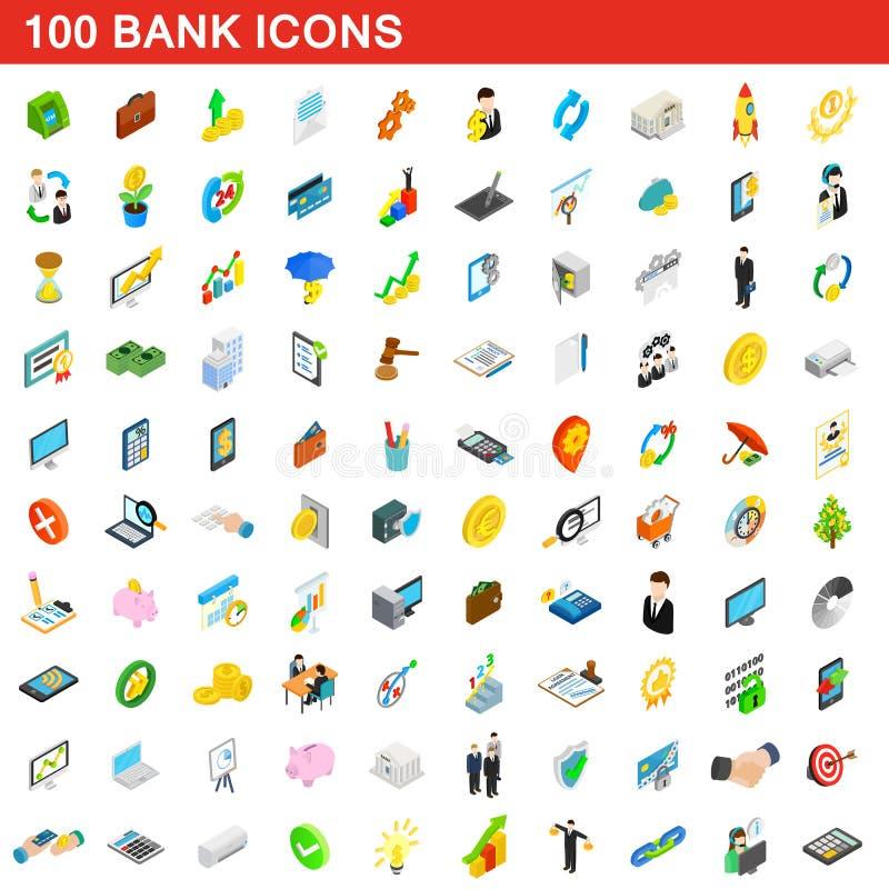 uppsättning för 100 banksymboler, isometrisk stil 3d vektor illustrationer