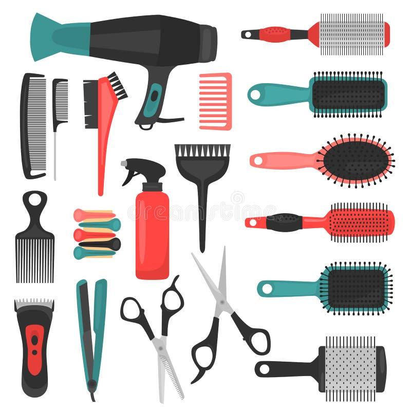 Uppsättning för Barber Tools färgsymboler stock illustrationer