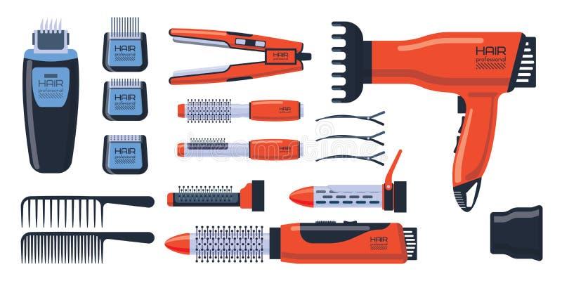 Uppsättning för barberaresalongprofessionell med hjälpmedelutrustning och vridning ansa stylisten för frisering för metallfrisers royaltyfri illustrationer