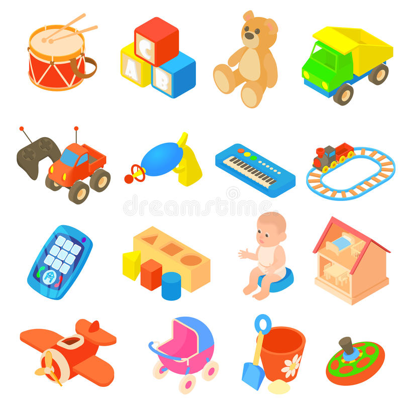 Uppsättning för barnleksaksymboler, lägenhetstil vektor illustrationer