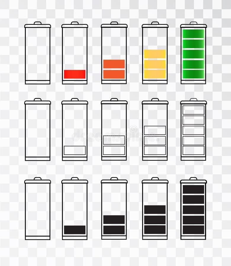 Uppsättning för batteriindikatorsymbol som isoleras som isoleras på en genomskinlig bakgrund Batterisymbolsuppsättning Set av lev stock illustrationer