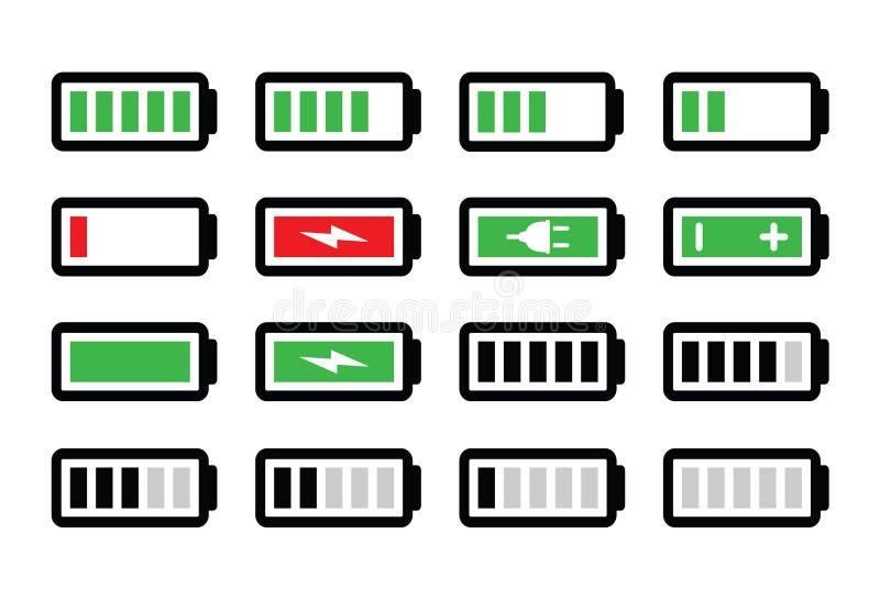 Uppsättning för batteriladdningssymboler royaltyfri illustrationer