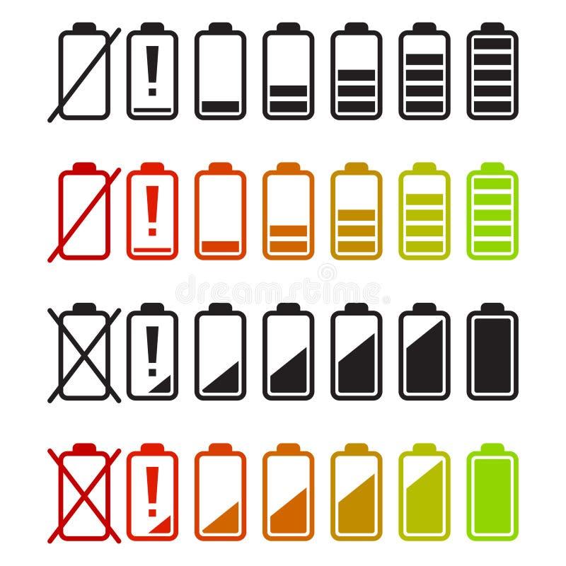 Uppsättning för batterisymbolsvektor Jämna indikatorer för laddning vektor illustrationer