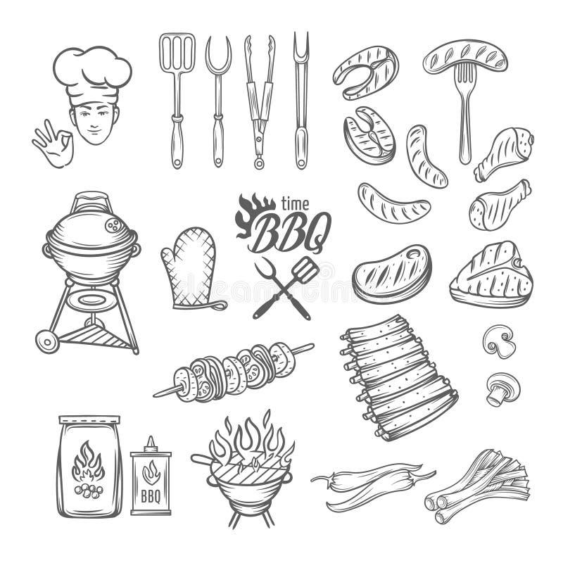 Uppsättning för BBQ-festmåltidparti vektor illustrationer