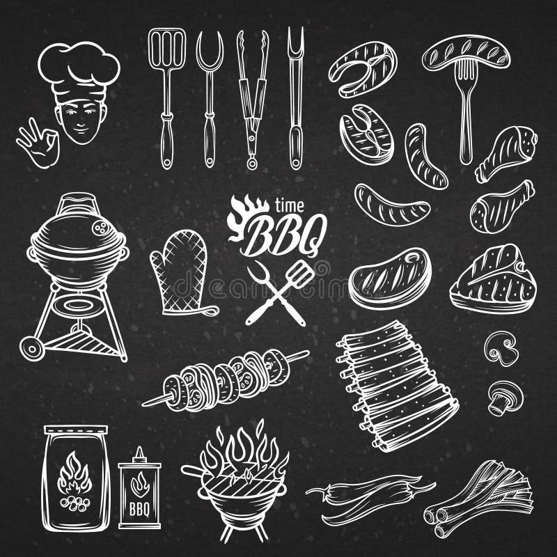 Uppsättning för BBQ-festmåltidparti stock illustrationer