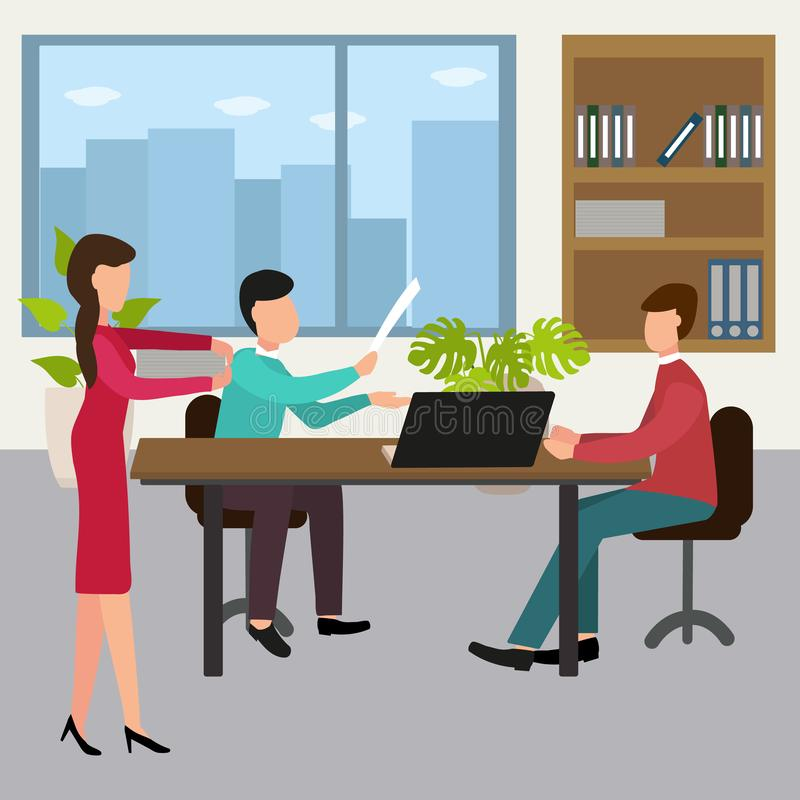 Uppsättning för begrepp för design för kontorsarbetare med affärsmöte också vektor för coreldrawillustration royaltyfri illustrationer