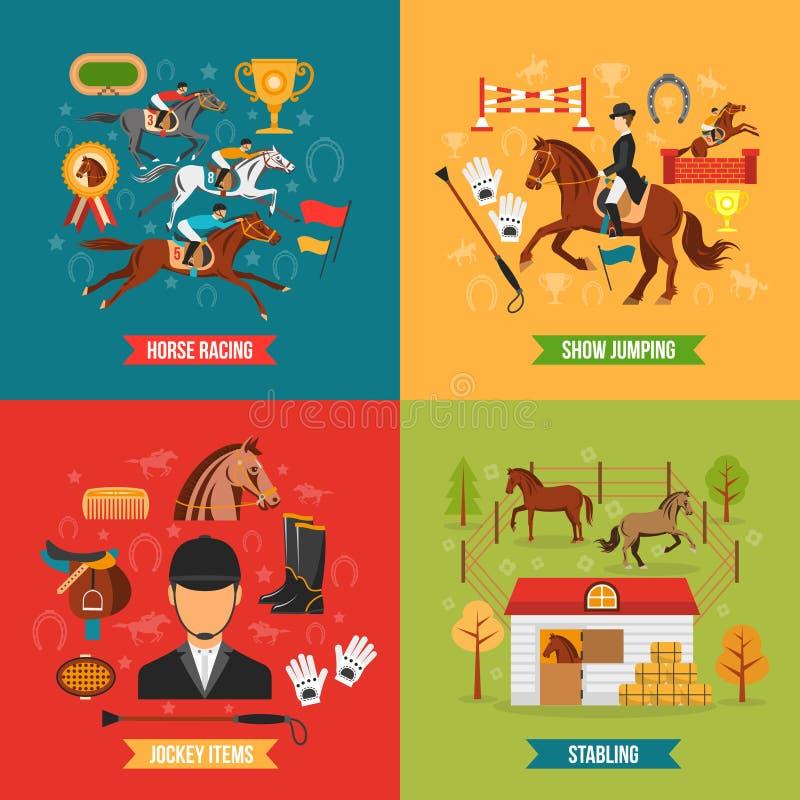 Uppsättning för begrepp för design för hästridning stock illustrationer