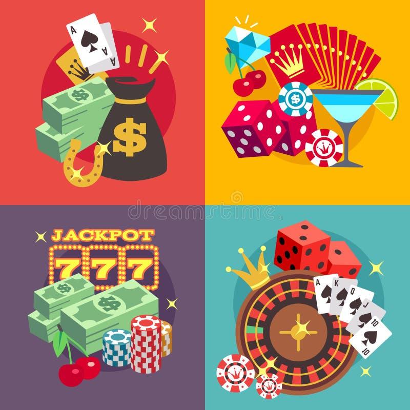 Uppsättning för begrepp för kasinodobblerivektor med symboler för lägenhet för segerpengarjackpott stock illustrationer