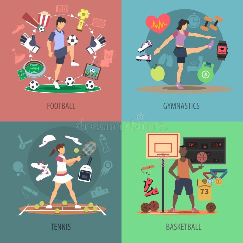 Uppsättning för begrepp för sportfolkdesign vektor illustrationer