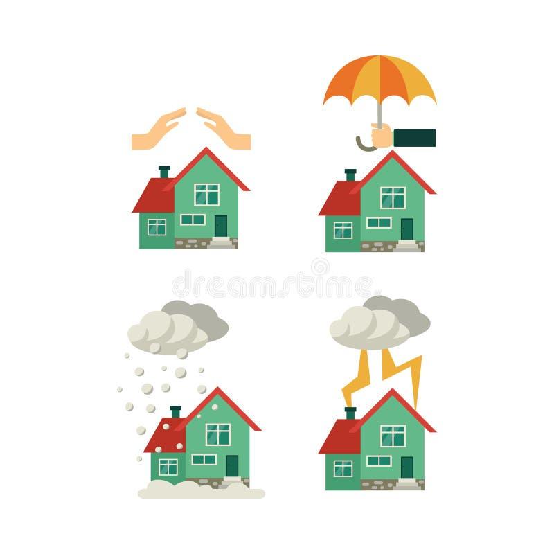 Uppsättning för begrepp för försäkring för vektorlägenhethus stock illustrationer