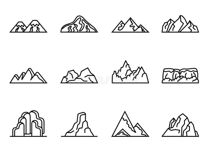 Uppsättning för bergvektorsymboler med vit bakgrund royaltyfri illustrationer
