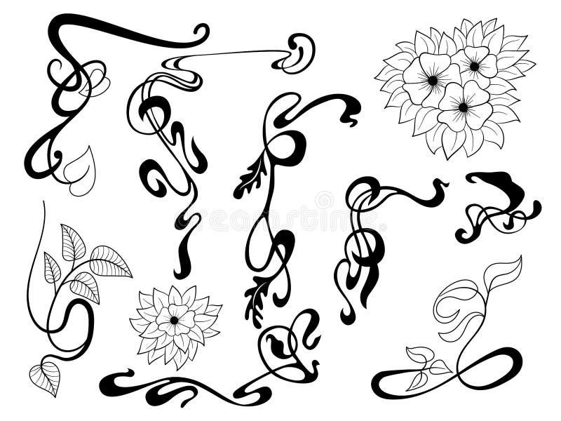 Uppsättning för beståndsdel för Art Nouveau stil dekorativ stock illustrationer