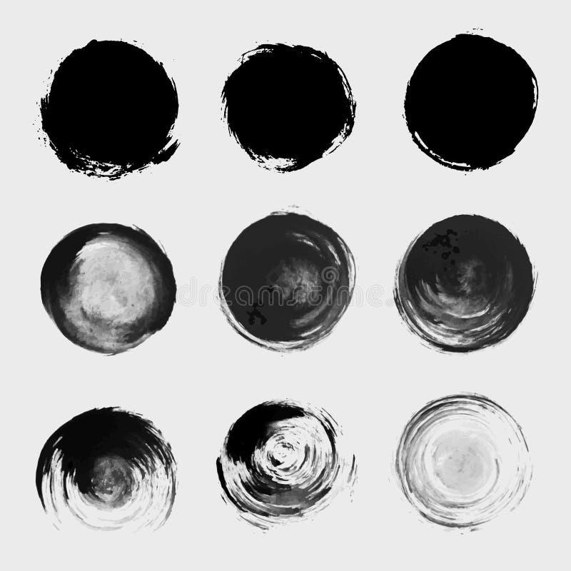 Uppsättning för beståndsdel för vektor för Grungemålarfärgcirkel vektor illustrationer
