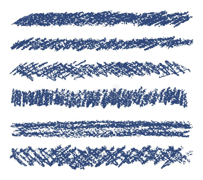 Uppsättning för beståndsdelar för design för färgpenna för vax för handteckningsblått stock illustrationer