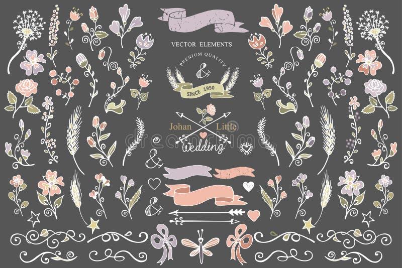 Uppsättning för beståndsdelar för dekor för kulöra klottergränser blom- royaltyfri illustrationer