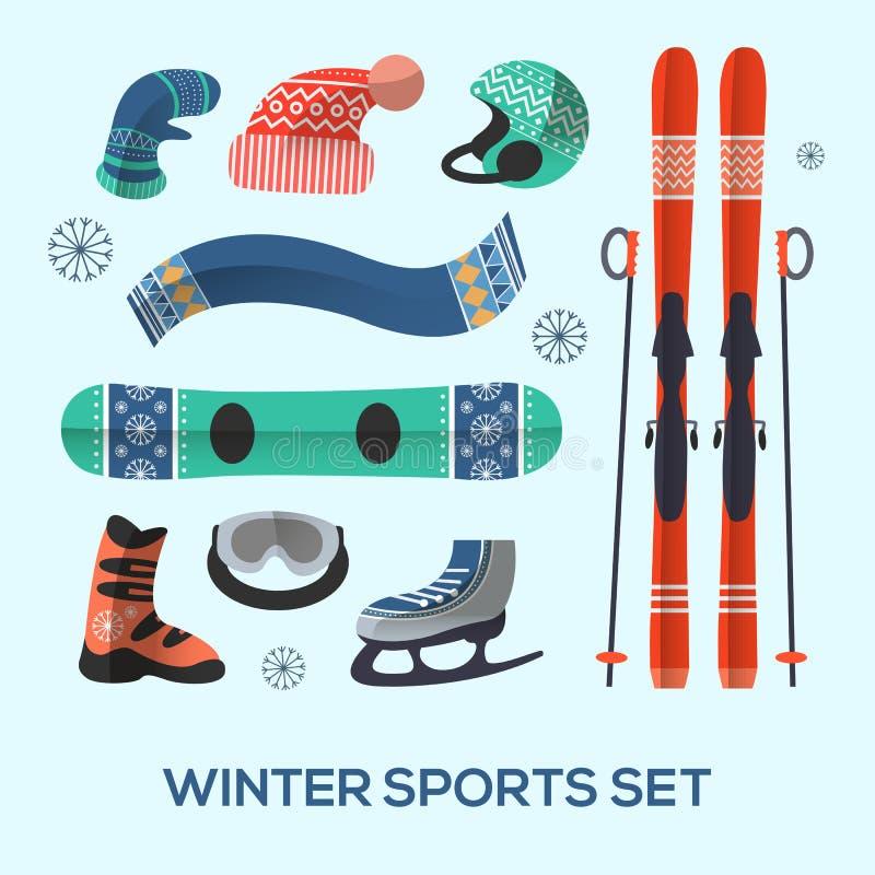 Uppsättning för beståndsdelar för design för vintersportar den kiting floden skidar snöig sportvinter stock illustrationer