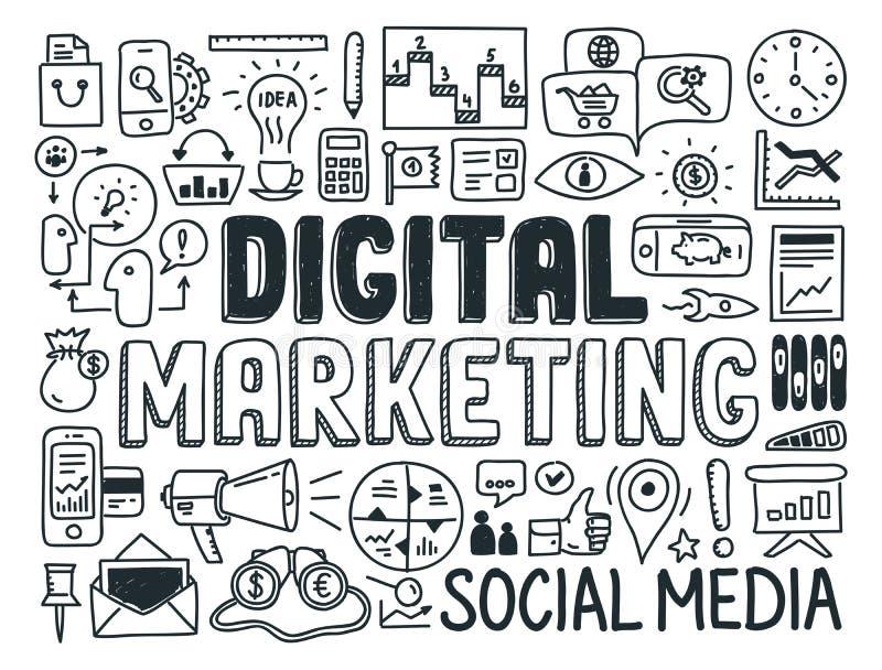 Uppsättning för beståndsdelar för Digital marknadsföringsklotter royaltyfri illustrationer