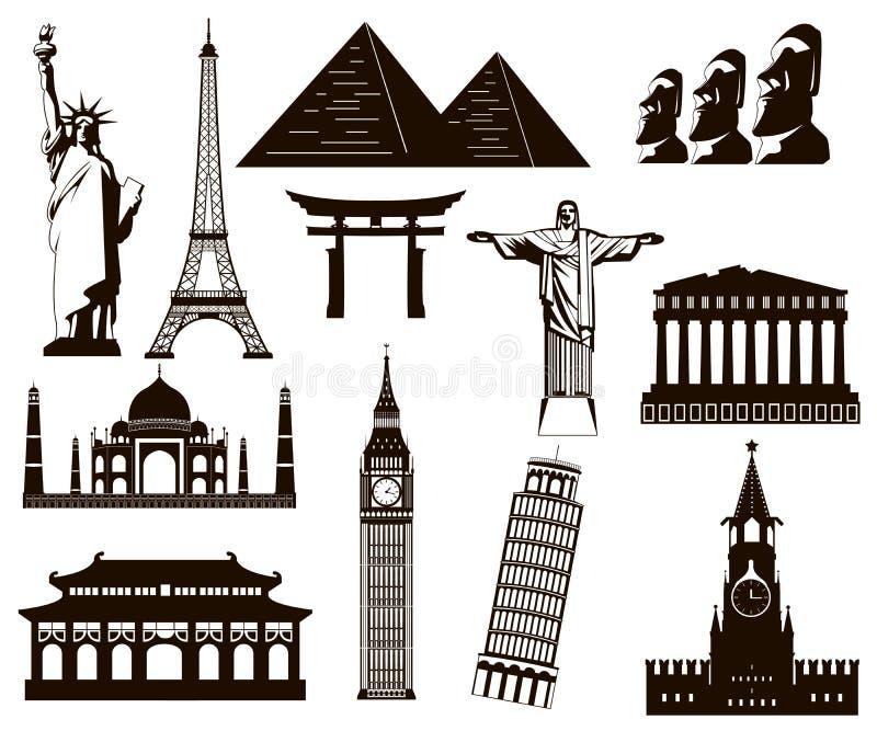 Uppsättning för beståndsdelar för världsgränsmärkekonturer vektor stock illustrationer