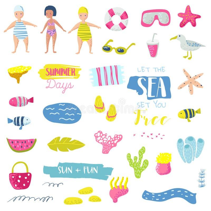Uppsättning för beståndsdelar för sommarstrandsemester barnslig med ungar, fisken och fågeln Gullig garnering med havsvarelser fö royaltyfri illustrationer