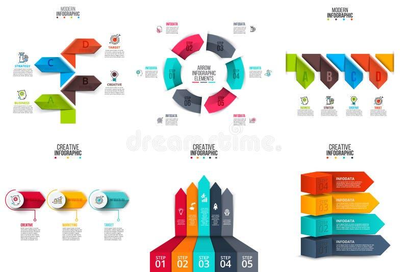 Uppsättning för beståndsdelar för vektorpilinfographics stock illustrationer