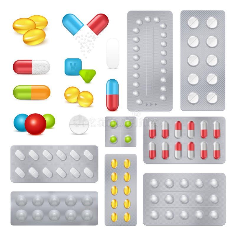 Uppsättning för bilder för medicinpreventivpillerkapslar realistisk stock illustrationer