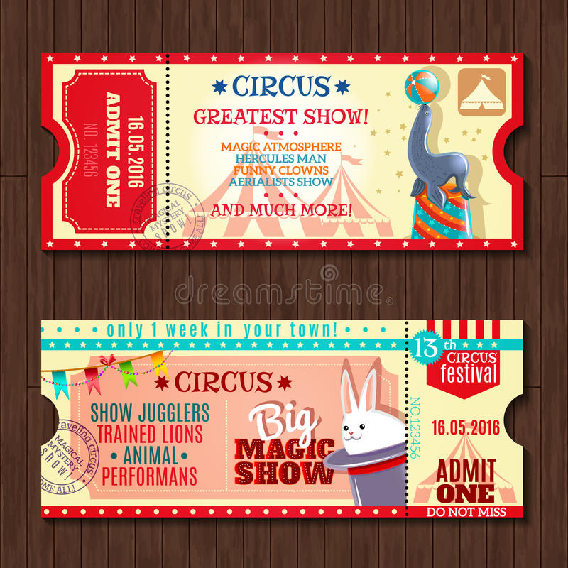 Uppsättning för biljetter för tappning för cirkusshow två stock illustrationer