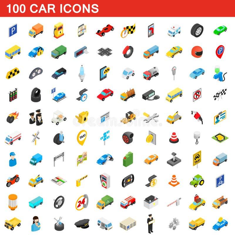 uppsättning för 100 bilsymboler, isometrisk stil 3d vektor illustrationer