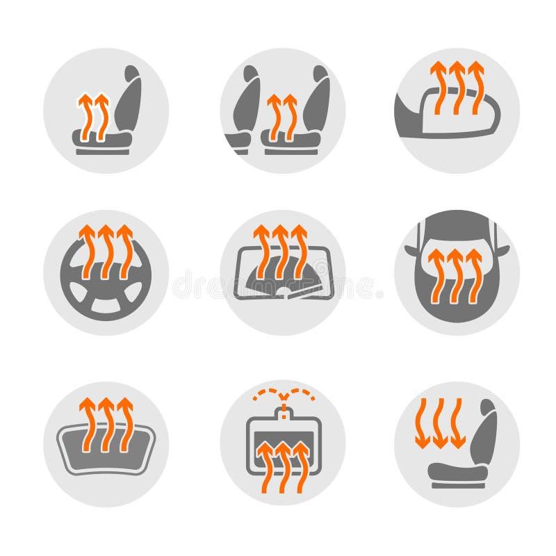 Uppsättning för biluppvärmningsystem vektor illustrationer