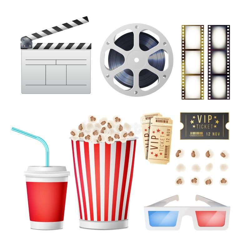 Uppsättning för biofilmsymboler Realistiskt popcorn, 3D exponeringsglas, Film-remsa, rulle, video filmskiva med bandet, filmClapp vektor illustrationer