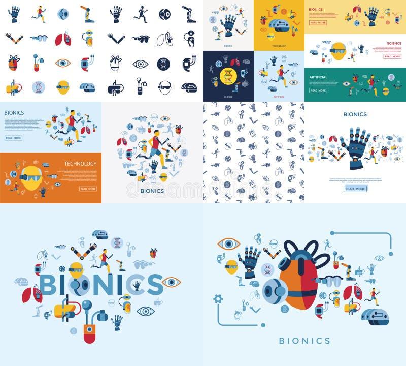 Uppsättning för Bionics och för konstgjord intelligens symbols stock illustrationer