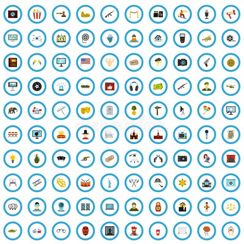 uppsättning för 100 bioproduktsymboler, lägenhetstil stock illustrationer