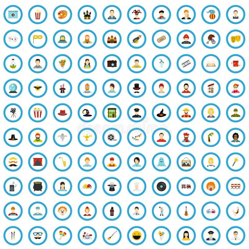 uppsättning för 100 bioskådespelaresymboler, lägenhetstil vektor illustrationer