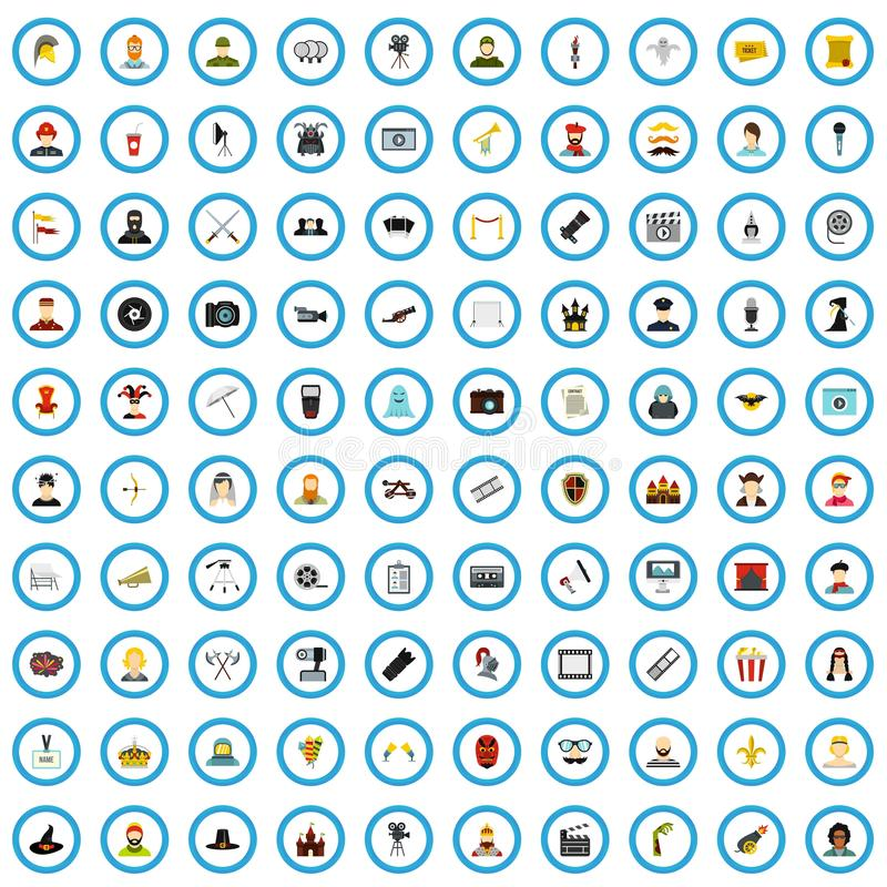 uppsättning för 100 biosymboler, lägenhetstil stock illustrationer