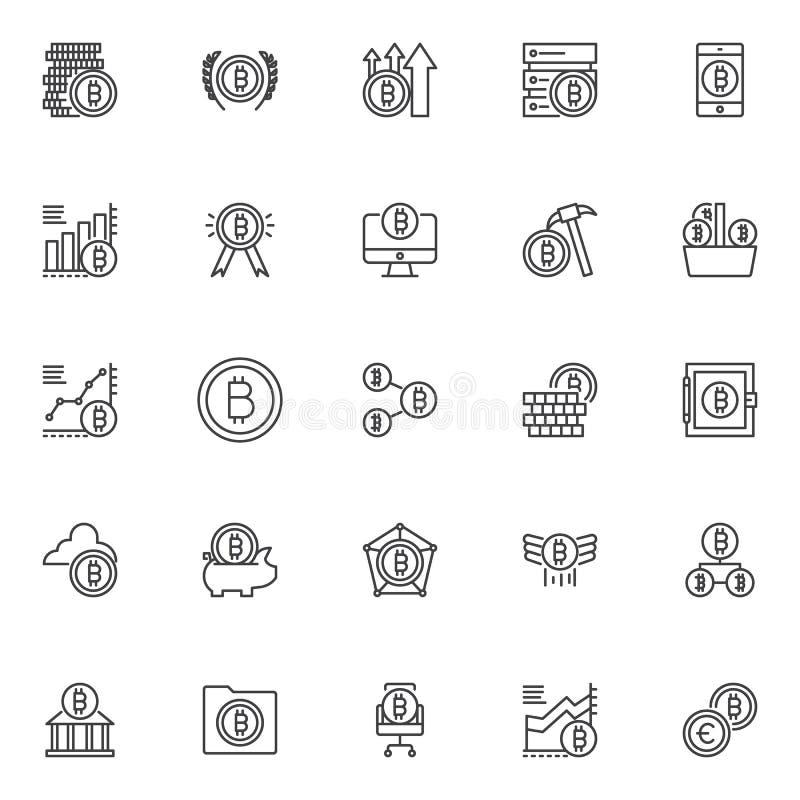 Uppsättning för Bitcoin översiktssymboler stock illustrationer