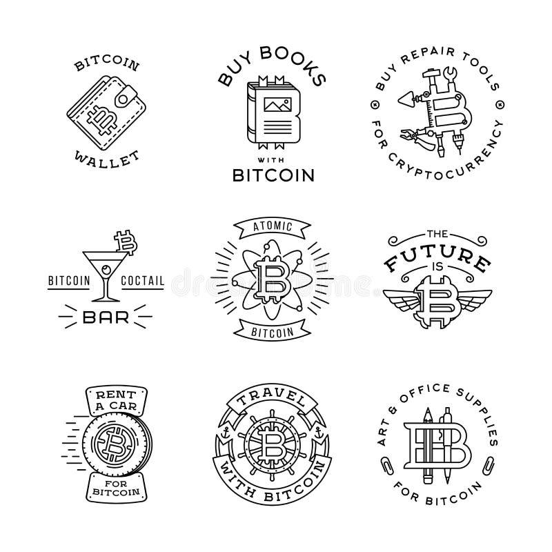 Uppsättning för Bitcoin logomallar Cryptocurrency emblem stock illustrationer