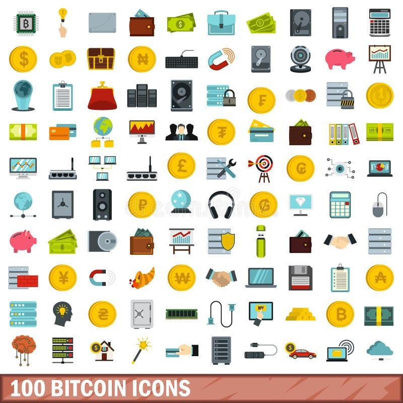 uppsättning för 100 bitcoinsymboler, lägenhetstil royaltyfri illustrationer