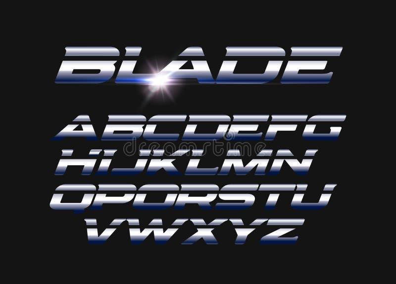 Uppsättning för bladvektorbokstäver Huggit alfabet med slät ståltextur Latinskt alfabet för slät metallstilvektor typografi stock illustrationer