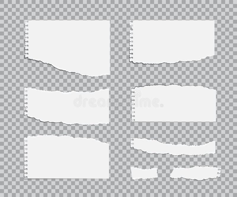 Uppsättning för Blanc sönderriven pappersark Realistiska designbeståndsdelar för vektor vektor illustrationer