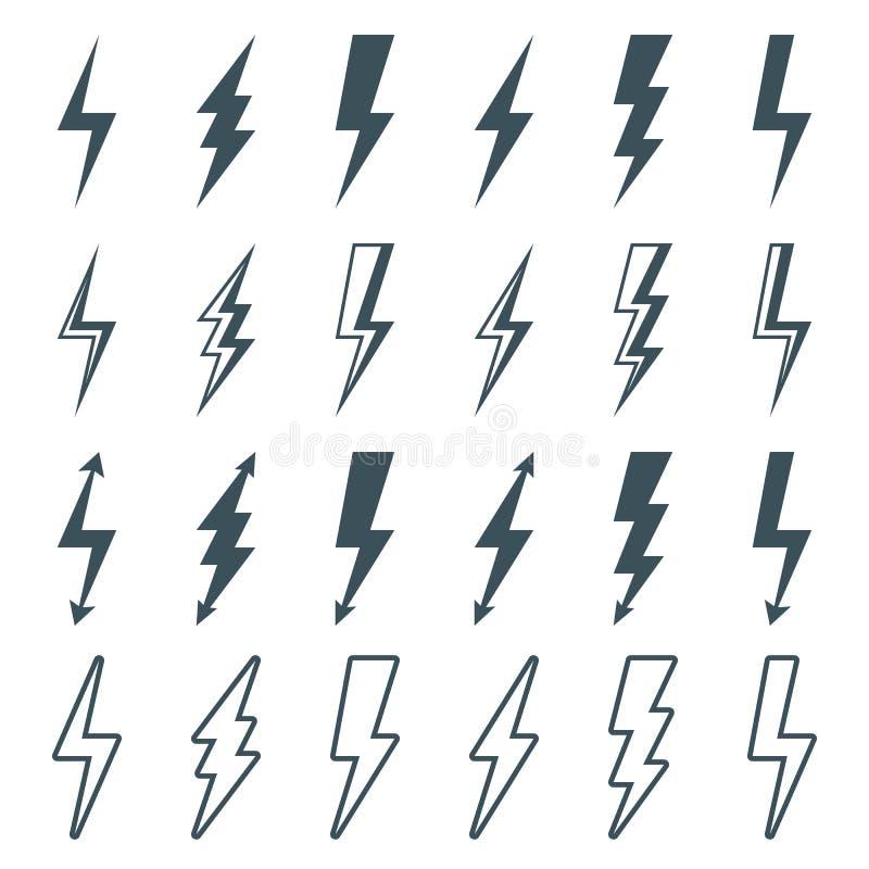 Uppsättning för blixtbult stock illustrationer